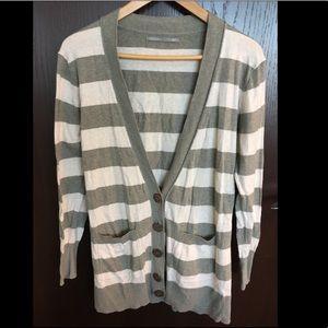 Boyfriend cardigan sweater in gray & cream stripes